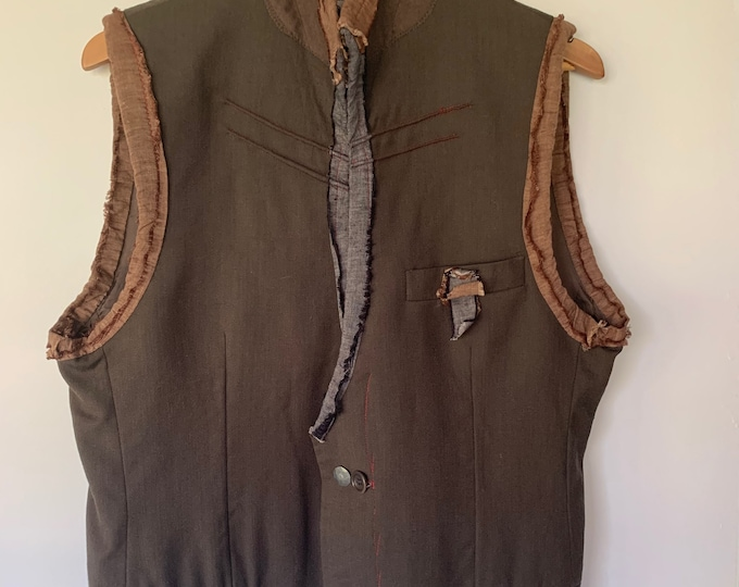 Reconstructed mens vest - small/Medium/black 40