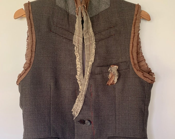 Reconstructed mens vest - small/black 38