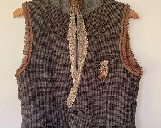 Reconstructed mens vest - small/black 38