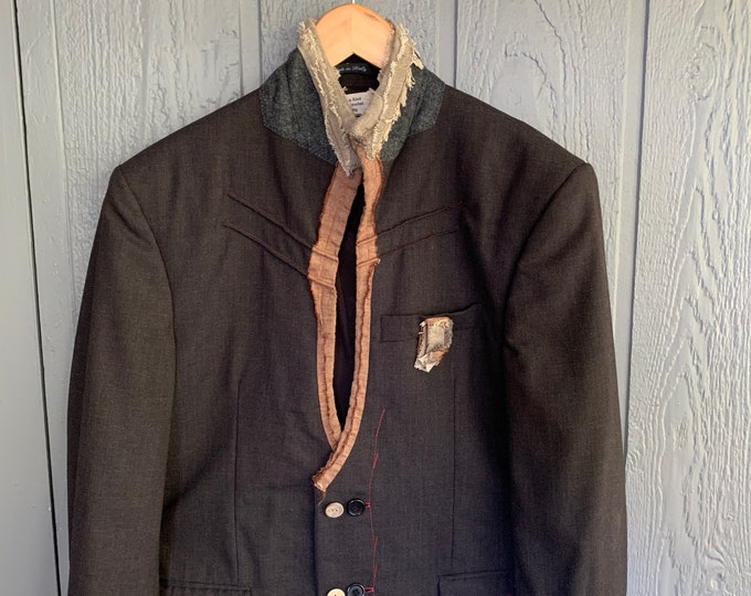 Reconstructed mens jacket(SAle)-Size LArge 44  DEtail Pic Lighter in COlor  THan ACtUal COlor