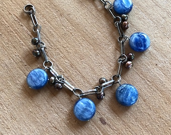 Modern Kyanite and Pearl Silver Charm Bracelet Blue and Brown Fashion Jewelry Gift for Woman