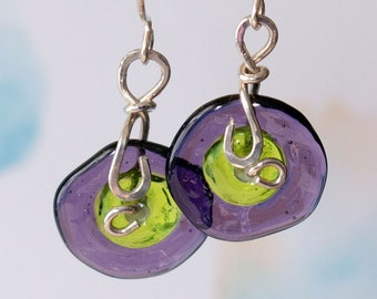 Purple and Green Lampwork Glass Sterling Silver Earrings Handmade Jewelry Modern Boho Gift for Woman