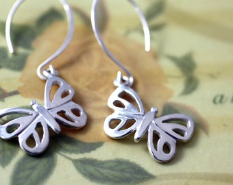 Sterling Silver Modern Butterfly Earrings,  Nature Inspired Designer Butterfly Jewelry, Silver Butterfly Earrings, Modern Butterfly Jewelry