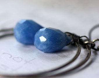 Denim Blue Sterling Silver Hoop Earrings  Blue Chalcedony and Silver Boho Casual Dangle Earrings