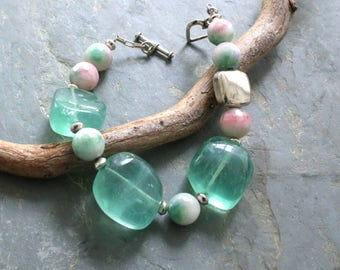 Chunky Fluorite Bracelet, Green and White Gemstone Bracelet, Women's Chunky Beaded Bracelet