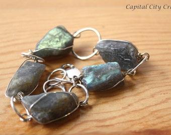 Rustic Raw Labradorite Chunky Gemstone Bracelet  Chunky Rough Labradorite Crystal Jewelry