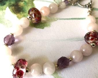 Pastel Lampwork and Rose Quartz Beaded Bracelet Feminine Jewelry Gift for Woman