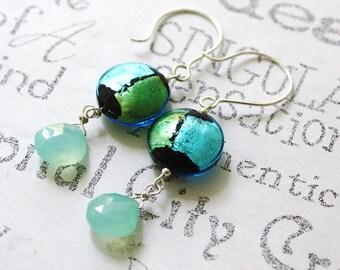 Blue and Green Murano Glass Earrings  Sea Foam Sterling Silver Earrings  Murano Glass and Gemstone Earrings  Aqua Chalcedony Drop Earrings