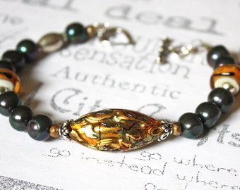Black and Gold Murano Glass Bracelet, Murano Glass, Freshwater Pearl and Lamp Work Glass Artisan Bracelet, Gold and Black Fashion Bracelet