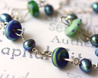 Blues Necklace Lamp Work Glass with Pearls and Sterling Silver, Blue Pearl and Lamp Work Sterling Silver Statement Necklace