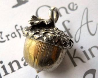 Handmade Silver and Yellow Brass Acorn Pendant, Handmade Silver and Brass Acorn Necklace,  Unisex Acorn Pendant