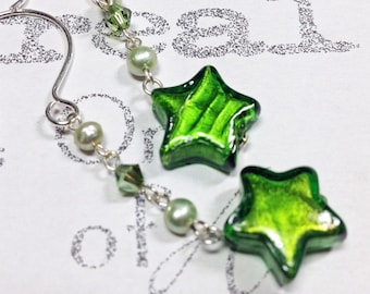 Green Glass Star Silver Earrings   Murano Glass Dangle Earrings  Green Star and Pearl Dangle Earrings