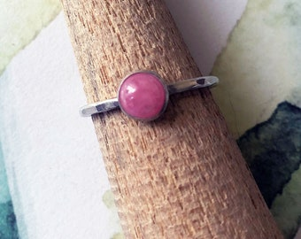 Pink Rhodocrosite Sterling Silver Stacking Ring size 7 1/4US
