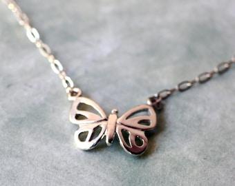 Petite Modern Sterling Silver Butterfly Necklace Handmade Minimalist Butterfly Jewelry Silver Butterfly Jewelry