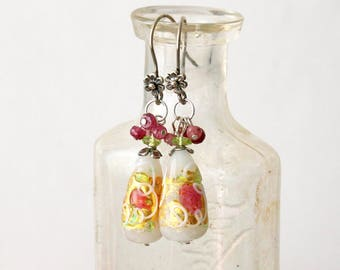 Floral Murano Glass Dangle Earrings  Murano Glass Drops Earrings  Spring Flower Murano Glass Earrings