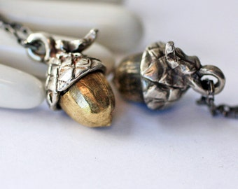 Tiny Acorn Pendant Sterling Silver and Brass Fall Acorn necklace on custom neck cord