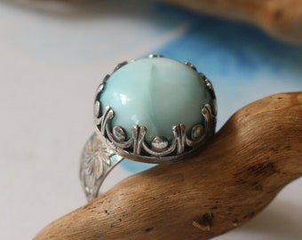 Romantic Vintage Style Larimar Cabochon Sterling Silver Statement Ring