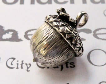 Handmade Sterling Silver Acorn Pendant  Large Silver Acorn Necklace  Sterling Silver Heirloom Acorn Pendant Necklace
