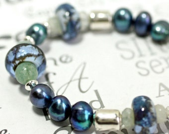Gemstone Aquamarine Blue Bracelet, Lamp Work Glass and Pearl Silver Blue Bracelet, Shades of Blue Handmade Bracelet