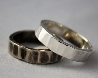 Heavy Hand Forged Sterling Silver Ring  Unisex Rustic Metalwork Silver Wedding Band  His or Hers Heavy Silver Band Ring