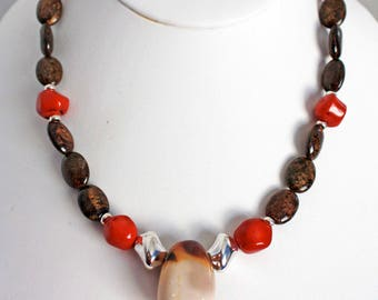 Brown and Red Beaded Necklace  Earthy Beaded Gemstone Necklace  Fall Fashion Necklace Gift for Woman