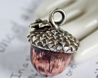 Handmade Acorn Pendant in Copper and Sterling Silver Unisex Nature Lovers Gift