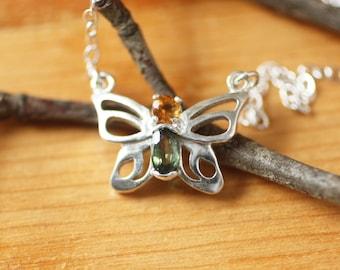 Tiny Butterfly Gemstone Silver Necklace  Sterling Silver Birthstone Butterfly Necklace