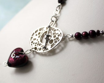 Garnet Lampwork Heart Statement Necklace  One of a Kind Designer Burgundy Pearl Jewelry Gift for Woman
