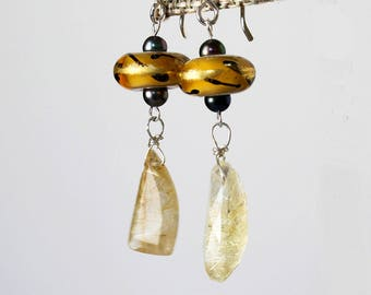 Rutilated Quartz Earrings Golden Lampwork Earrings Gemstone and Lampwork Earrings Gift for Woman