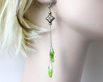 Long Green Sterling Silver Earrings  Green Shoulder Duster  Spring Green Long Elegant Earrings