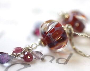 Berry Red Gemstone Dangle Earrings, Red Lampwork Earrings,  Long Silver Dangle Statement Earrings, Mixed Berry Color Earrings
