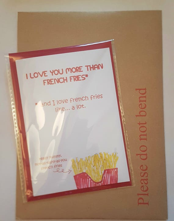 I Love You Card Birthday Cards Food French Fries Gifts Wife Husband