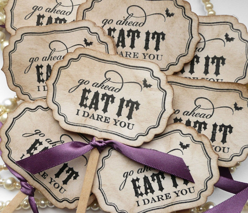 Eat It I Dare You Cupcake Toppers  Gothic or Halloween image 0