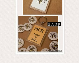 Manchester Bee, Worker Bee Keyring, Manchester Keyrings, Bee Favours, Mancunians, Manchester Gifts, Manchester Badges, Bee Badges