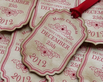 Christmas Tags 2017, Personalized Tags, Personalised Labels, Do Not Open Until December 25th, Do Not Open Tags,  Wedding Favors