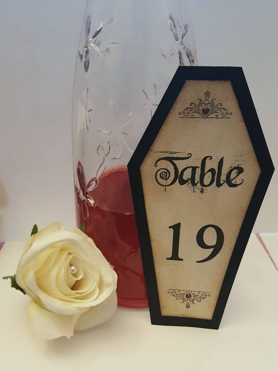 Coffin Table Numbers Gothic Wedding Decor Halloween Etsy