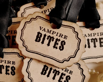 Vampire Bites, Halloween Tags, Halloween Wedding, Gothic Wedding, Occult Tags,