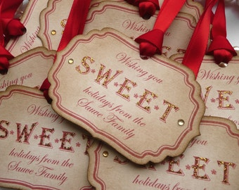 Christmas Tags Sweet Personalised - Set of 10  - Gold Glitter