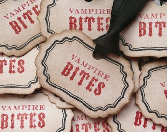Halloween Tags, Vampire Bites, Treat Bag Tags, Halloween Favours, Gothic wedding, Candy Apple Tags