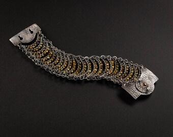 Aztec Woman-Bracelet,Sterling Silver Woven Garnets
