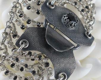 Black Spinel Wave Bracelet