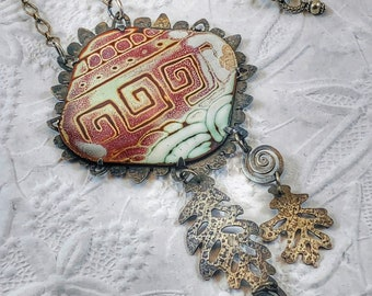 Grecian Waters- Enamel and Silver Necklace