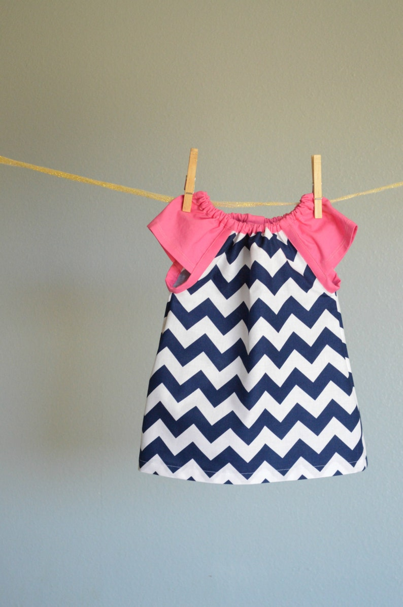 9da48afe1 Dress nautical pink navy blue chevron zigzag summer dress | Etsy
