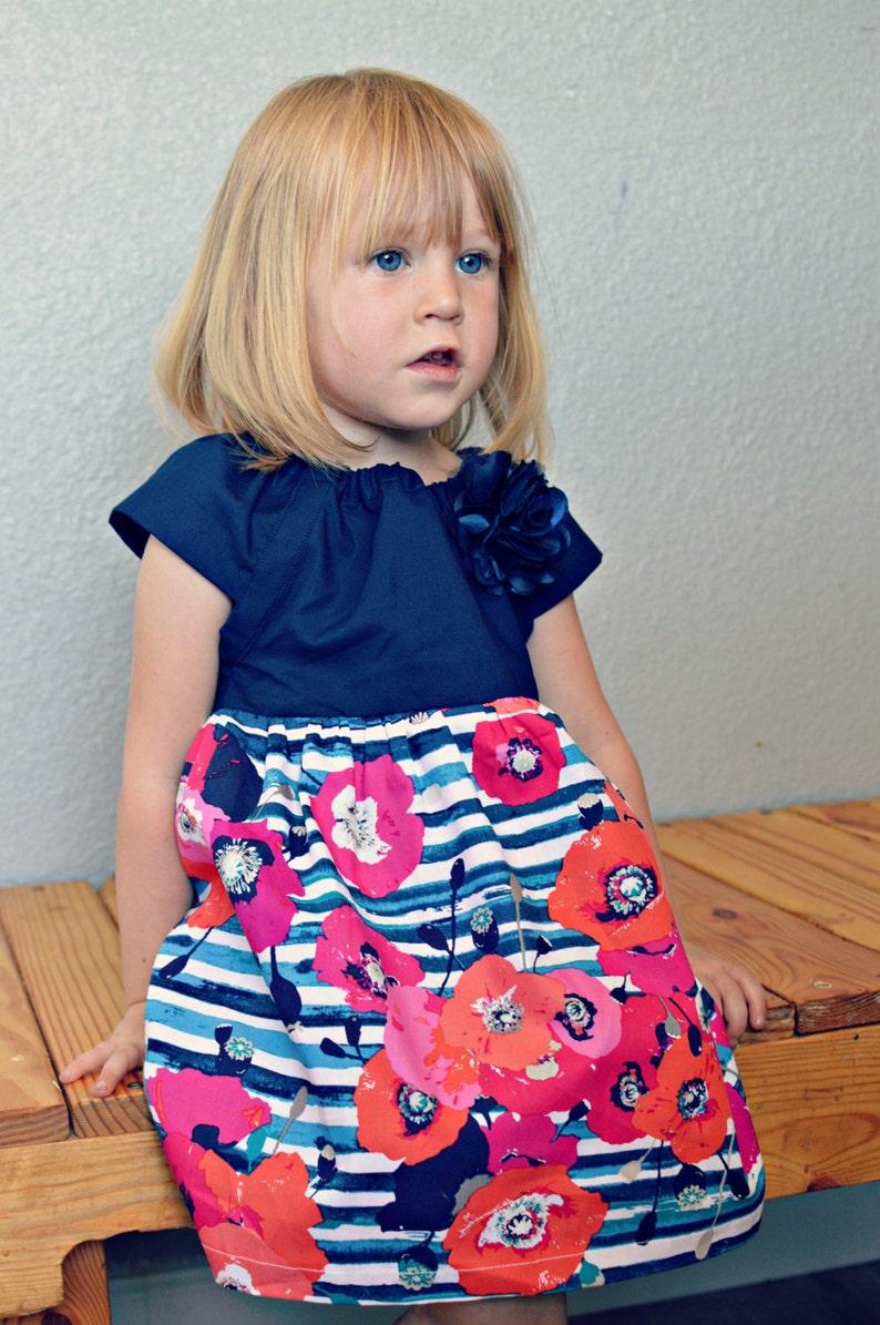 67e26f2c6 Dress Spring Easter blue floral stripes pink coral navy flower | Etsy