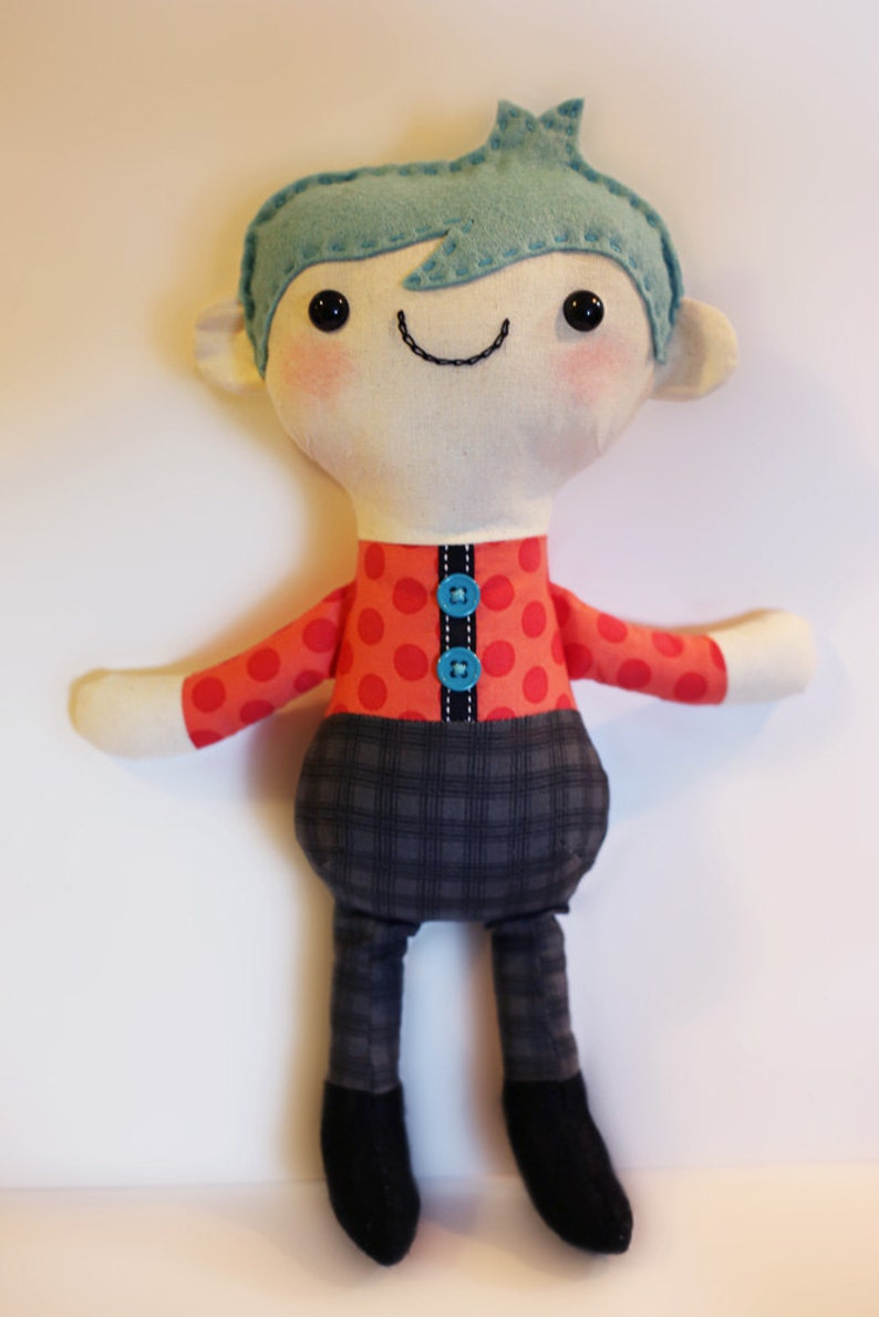 Boy doll sewing pattern available on Etsy