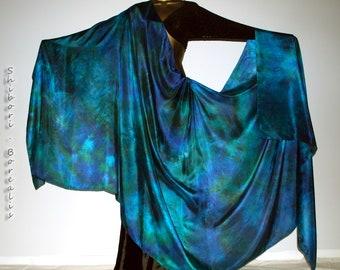 Belly Dance Silk Veil - Rectangle 3 yard hand dyed China habotai silk - SEA GODDESS - by Shibori Borealis