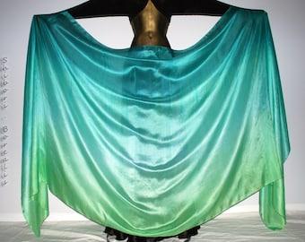 Belly Dance Silk Veil - Rectangle 3 yard hand dyed China habotai silk - MINTED LIME - by Shibori Borealis