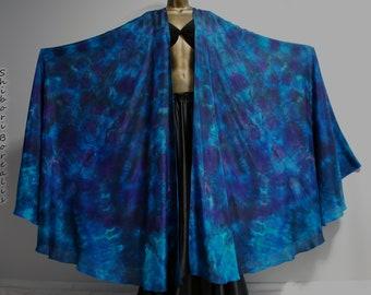 Shibori Borealis Silk Veil Belly Dance 2 Large Half Circle Pair - ROYAL MYSTIC
