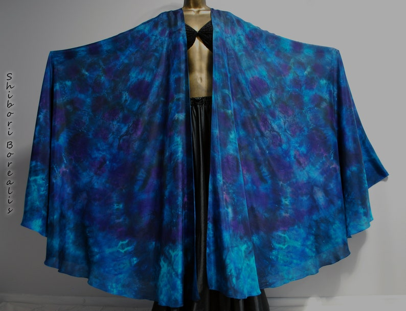 Shibori Borealis Silk Veil Belly Dance 2 Large Half Circle image 0