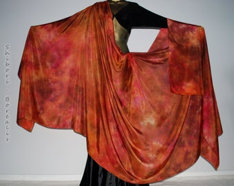 Belly Dance Silk Veil - Rectangle 3 plus yards hand dyed China habotai silk - COPPER and ROSES - by Shibori Borealis
